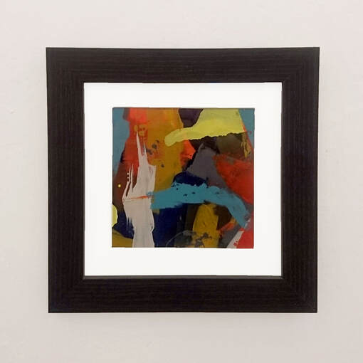 small framed abstract acrylic on paper by Steve Wilde