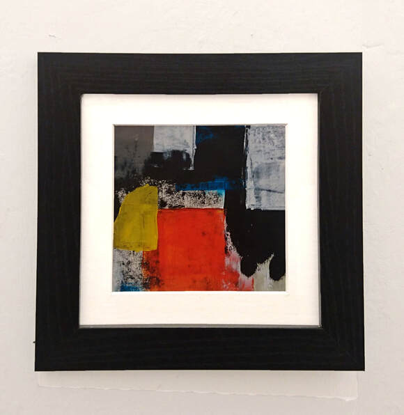 small, framed, abstract acrylic on paper by Steve Wilde
